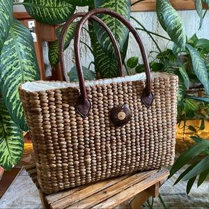 Wicker Woven Shoulder Bag Purse Tote Handcrafted